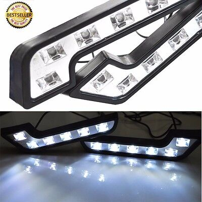 2X White 6 LED Universal Car Auto Driving Lamp Fog 12V DRL Daytime Running Light