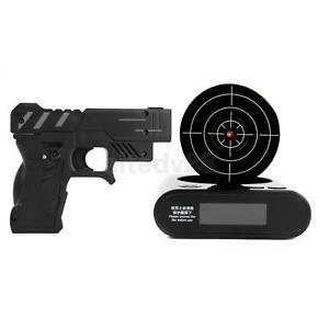 Novelty LCD Laser Gun Shoot Target Morning Alarm Desk Clock Gadget Fun Play