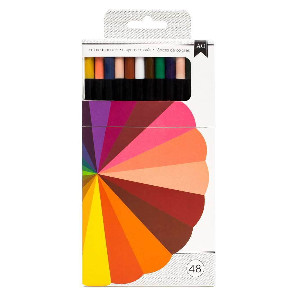 American Crafts 48 Piece Professional Crafting Colored Pencil Set
