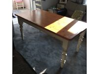 Laura Ashley Pine & Cream Dining Table, used but in fair condition £75,legs removable for transport