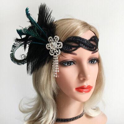 1920's Flapper Headband  Headpiece Rhinestones Tassel Flower Headwear](Flapper Headwear)