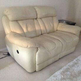 2 Seated power recliner settee and two chairs cream leather normal wear and tear.