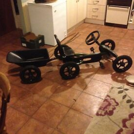 Berg Go Kart and Trailer Jeep version black and green in good condition