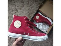 All star converse hi-tops red suede