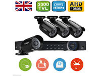 ahd cameras 2mp and ahd dvr 8 channel system with 1 tb memory day/night vision