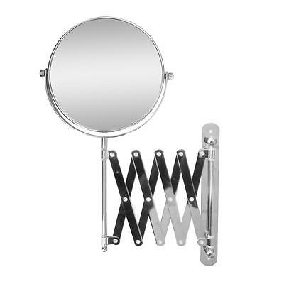 Extendable Dual Sided Wall Mount Bath Magnifying Makeup Mirror, Chrome Chrome Wall Mount Mirror