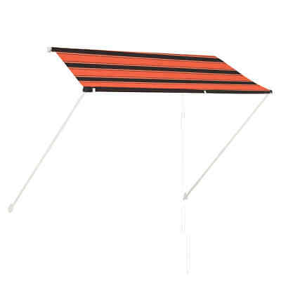 vidaXL Retractable Awning 250cm Orange and Brown Outdoor Patio Sun Protection