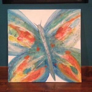 Butterfly textured canvas painting - one of a kind  from artist Windsor Region Ontario image 2
