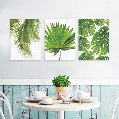 Frameless Oil Painting Set - SET 3PCS Frameless Green Leaf Canvas Oil Painting Picture Poster Art Decor