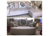 4 seater corner sofa and 2 seater cuddle chair