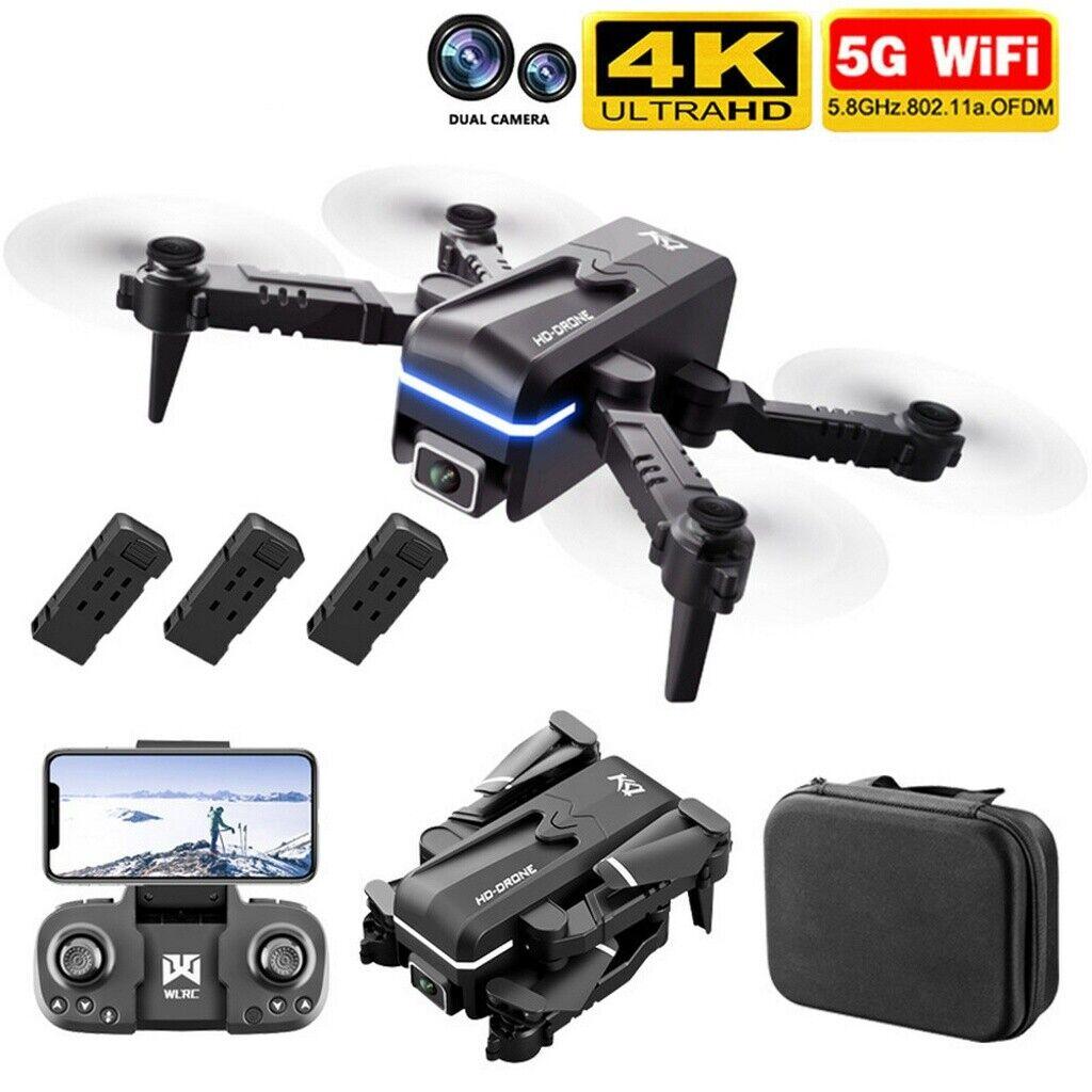 4K HD Dual Kamera Drohne Selfie Quadrocopter FPV RC Faltbar Drone mit 3 Akkus
