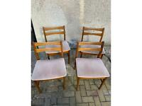 Set of 4 Mid Century Dining Chairs - Pink Fabric - Likely Jentique