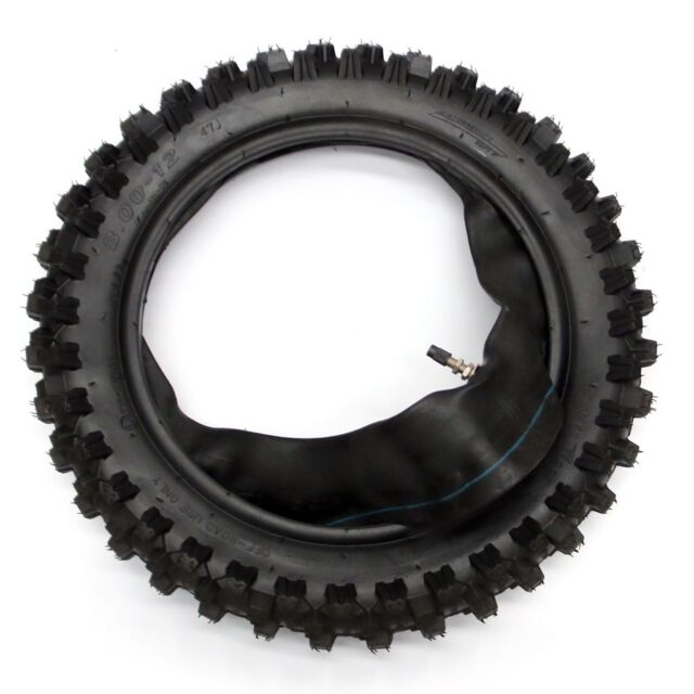 """12 inch rear knobby tyre with tube, 12"""" 80/100-12 tire, dirt bike, pit bike, CRF"""