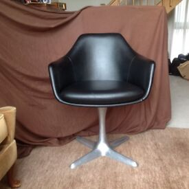 1960s/70s Black leatherette Vinyl Tub Chair