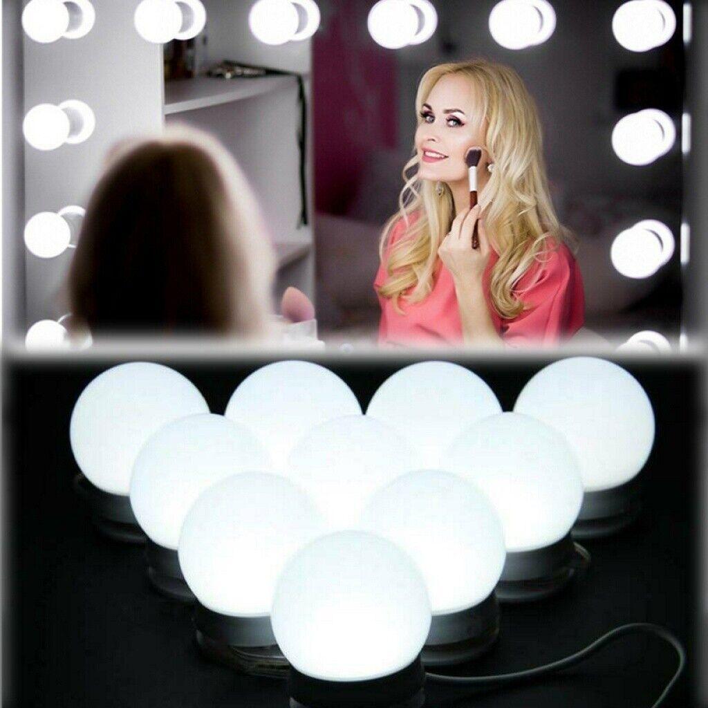 Hollywood 10 LEDs Spiegelleuchte Schminklicht Schminktisch USB Spiegellampe Neu