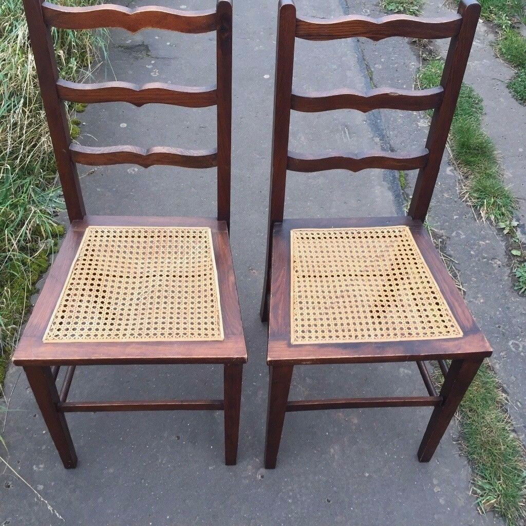 Old Wooden Chairs With Rattan Seat In Edinburgh Gumtree