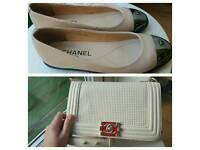 Chanel beige handbag and flats