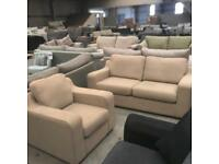 Brand new beige 3 seater and armchair sofa suite