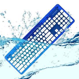 Boxed wireless keyboard waterproof, new ROCK CANDY 'Blueberry', MAC WINDOWS PC IPAD desk chair table