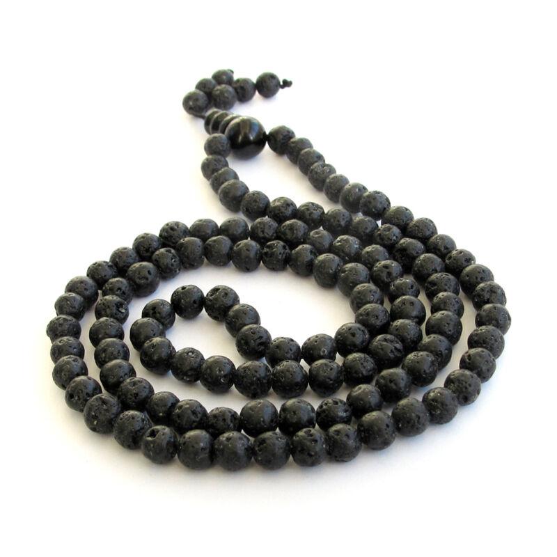 8 mm Black Volcano Stone Tibet Buddhist 108 Prayer Beads Mala Necklace