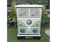 Retro VW Camper Van Style Pine Chest of Drawers / Bedside Table - Vintage Green