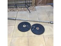 Olympic weightlifting bar with plates