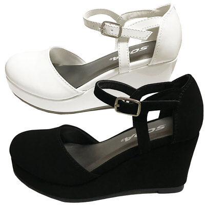 RONNI Girls Kid's Mary Jane Low Platform Wedge Heels Party Wedding Dress Shoes