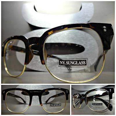 New CLASSIC VINTAGE 50s RETRO Style Clear Lens EYE GLASSES Tortoise & Gold Frame](50s Style Glasses)