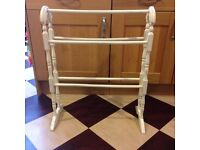 Shabby Chic Distressed Cream Painted Towel Rail - Perfect for either Bathroom or Bedroom