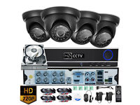 8 channel HD CCTV Security Camera Kit. 4x HD Cameras, HD DVR with Hard Drive, Cables. Full Kit