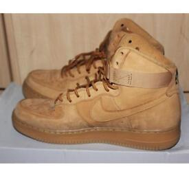 Brand New Brown Authentic Nike suede Air Force 1 high Hi Flax Gum Lv8