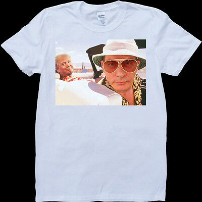 Putin and Trump Fear and Loathing in Las Vegas Funny White, Custom Made T-Shirt