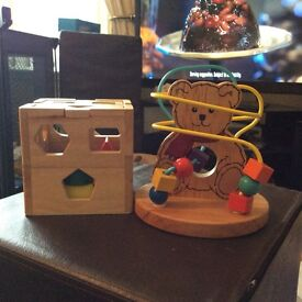 Two wooden baby toys