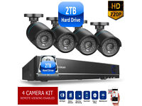HD CCTV Security Camera Kit, 2TB Hard Drive, 4 Cameras, DVR, Mobile Phone Viewing, Cables