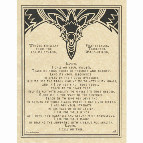 Raven Prayer Poster Book of Shadows Page