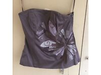 STUNNING COAST 100% SILK TAUPE STRAPLESS EMBROIDERED & BEADED BUSTIER SIZE 10- NEW
