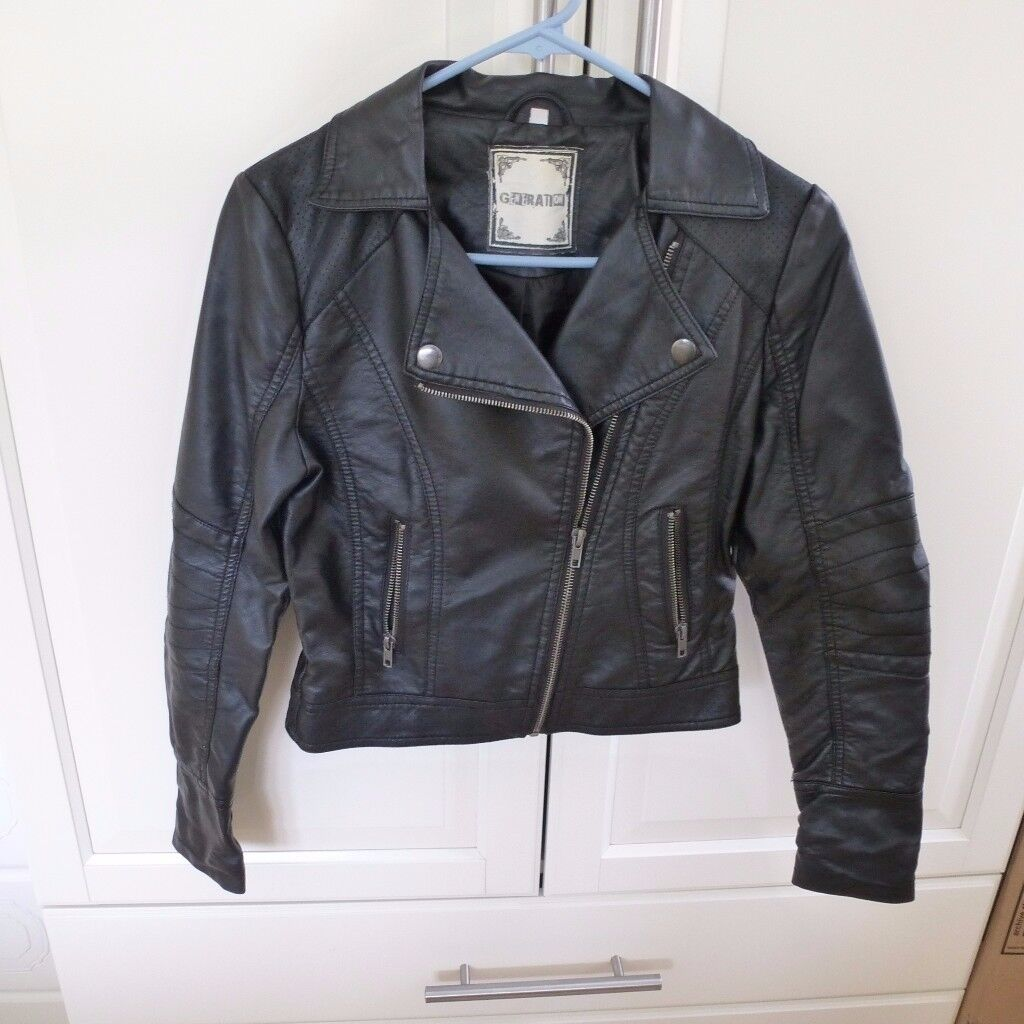 Girls Black Biker Jacket - 915 Generation by New Look - Age 12-13yrs Height 152-158cms