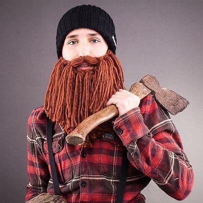 Viking Beard Hats (Beardo - Viking Style - Black Hat Brown Beard Kids Hat Beanie Face)