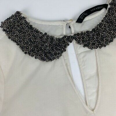 Zara Basic Womens Blouse White 3/4 Sleeve Beaded Collar Keyhole Back Top S