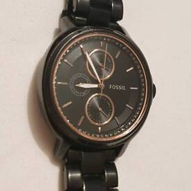 FOSSIL watch black and rose gold with clear crystals