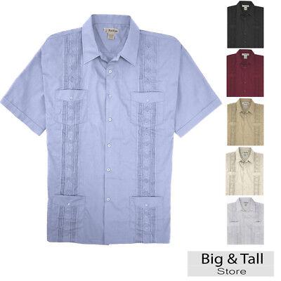 Big And Tall Short Sleeve Shorts - Big and Tall Men's Guayabera Short Sleeve Shirt, 2XL - 8XL, 2XLT - 6XLT Foxfire