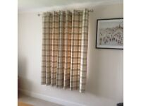 3 pairs of Thermal Lined Balmoral Check Green Eyelet Curtains