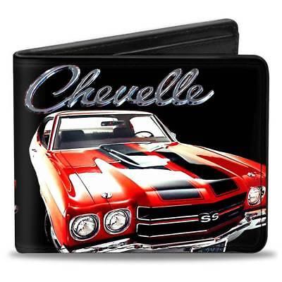 Men Wallet Bifold 1970 Chevrolet CHEVELLE Black Silver Red Trucker Logo