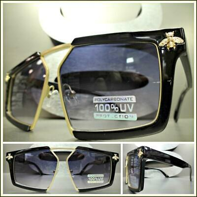 EXAGGERATED LUXURY Upscale RETRO Style SUN GLASSES Funky Exotic Black Gold Frame