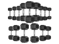 10kg - 20kg Rubber Hex Dumbbell Set - 4 Pairs - Weights Gym