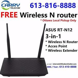 FREE wireless N router with Unlimited 15M Cable internet plan $29.99/mon, Call 613-816-8888 or 613-410-8888 to order