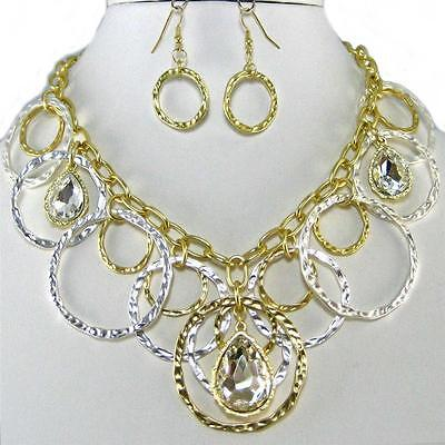 Women Fashion Jewelry Silver Gold Chain Crystal Statement Necklace Earrings Set