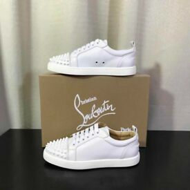Christian Louboutin Louis Junior White Spiked Low Tops All Sizes
