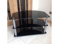Black glass and Chrome TV Cabinet