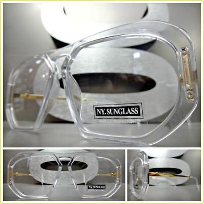 Mens Classic RETRO HIP HOP Style Clear Lens EYE GLASSES Tran